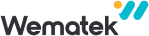 Wematek Yazılı W harfinden türetilmiş ikonuyla wematek logotypeı 100px yüksekliğinde